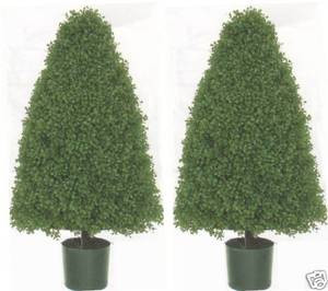 Two 3 foot Potted Artificial Cone Boxwood Topiary Bush