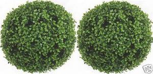 Outdoor Artificial Boxwood Topiary Balls 13 inch Two