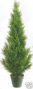 One 3 foot Outdoor Artificial Cedar Topiary Tree Potted UV Rated Plant