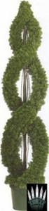 One 5 foot Outdoor Artificial Cedar Double Spiral Topiary Tree Potted UV Rated Plant with Lights