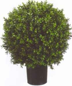 One 2 foot Outdoor Artificial Boxwood Ball Topiary Bush Potted UV Rated