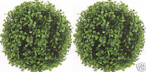 Outdoor Artificial Boxwood Topiary Balls 10 inch Two