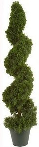 38 inch Artificial Cedar Spiral Topiary Tree Potted Indoor/Outdoor