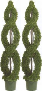 Two 5 foot Outdoor Artificial Cedar Double Spiral Topiary Trees Potted UV Rated Plants