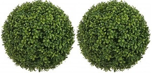 Outdoor Artificial Designer Long Leaf Boxwood Topiary Balls 20 inch Two UV Rated