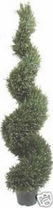 One 6 foot 4 inch Outdoor Artificial Wide Rosemary Spiral Topiary Tree Potted UV Rated Plant
