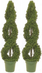 Two 4 foot Outdoor Artificial Cedar Double Spiral Topiary Trees Potted UV Rated Plants