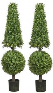 Two 50 inch Artificial Boxwood Cone and Ball Topiary Trees