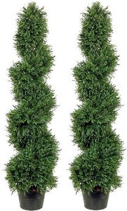 Two 4 foot Artificial Rosemary Spiral Topiary Trees