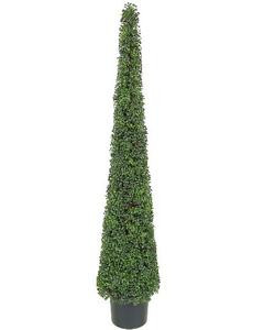 One 6 foot Outdoor Artificial Tea Leaf Cone Tower Topiary Tree Potted UV Rated Plant