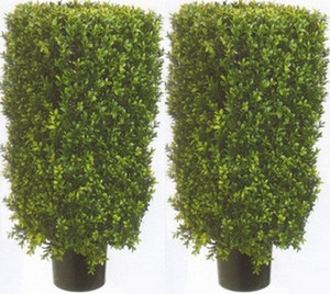Two 30 inch Outdoor Artificial Boxwood Rectangle Topiary Trees Potted UV Rated Plants