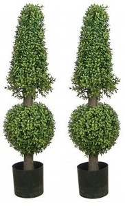 Two 38 inch Artificial Boxwood Cone and Ball Topiary Trees UV Rated