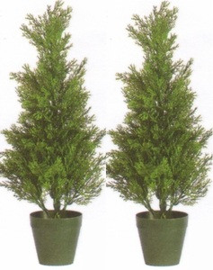 Two 2 foot Artificial Cedar Cypress Topiary Trees UV Rated
