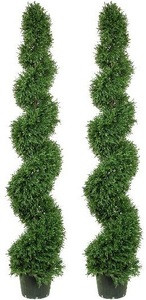 Two 6 foot Artificial Rosemary Spiral Topiary Trees Potted