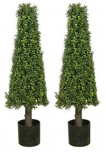 Two 40 inch Artificial Boxwood Cone Tower Topiary Trees