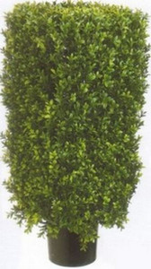 One 30 inch Outdoor Artificial Boxwood Rectangle Topiary Tree Potted UV Rated Plant