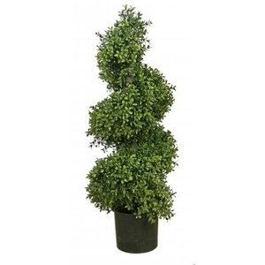 36 inch Artificial Wide Boxwood Spiral Topiary Tree Potted Outdoor UV Rated