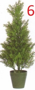 Six 2 foot Artificial Cedar Cypress Topiary Trees Potted UV Rated