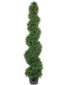 One 5 foot Outdoor Artificial Rosemary Spiral Topiary Tree Potted UV Rated Plant