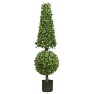 50 inch Artificial Boxwood Cone and Ball Topiary Tree Potted Indoor/Outdoor