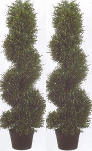 Two 3 foot Artificial Rosemary Spiral Topiary Trees