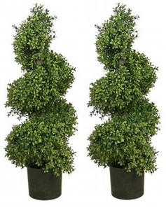 Two 36 inch Outdoor Artificial Wide Boxwood Spiral Topiary Trees Potted UV Rated Plants