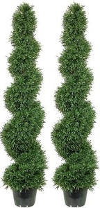 Two 5 foot Artificial Rosemary Spiral Topiary Trees