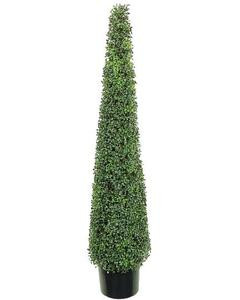 One 5 foot Outdoor Artificial Tea Leaf Cone Tower Topiary Tree Potted UV Rated Plant