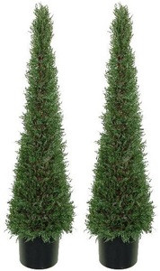 Two 4 foot Artificial Cedar Cypress Cone Tower Topiary Trees Potted