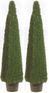 two 54 inch Artificial Boxwood Pyramid Topiary Trees Potted