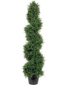 4 foot Artificial Slim Rosemary Spiral Topiary Tree Potted Indoor/Outdoor