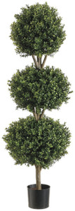 One 56 inch Outdoor Artificial Boxwood Triple Ball Topiary Tree Potted UV Rated Plant