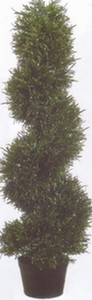 One 3 foot Outdoor Artificial Rosemary Spiral Slim Topiary Tree Potted UV Rated Plant