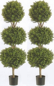 Two 56 inch Artificial Boxwood Triple Ball Topiary Trees Potted UV Rated