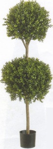 One 56 inch Outdoor Artificial Boxwood Double Ball Topiary Tree Potted UV Rated Plant