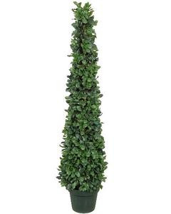4 foot Artificial Tea Leaf Cone Tower Topiary Tree Potted Indoor/Outdoor