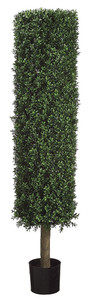One 58 inch Outdoor Artificial Boxwood Cylinder Topiary Tree Potted UV Rated Plant