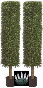 "2 ARTIFICIAL 58"" BOXWOOD OUTDOOR TOPIARY TREE PLANT ARRANGEMENT PORCH DECK IVY WITH CHRISTMAS LIGHTS"