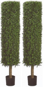 Two 58 inch Artificial Boxwood Cylinder Hedge Topiary Trees