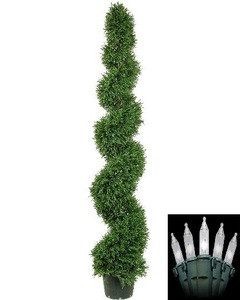 One 6 foot Artificial Rosemary Spiral Topiary Christmas Tree Potted Indoor or Outdoor with Clear Holiday Lights