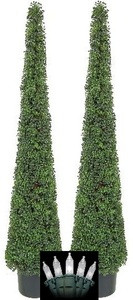 Two 6 foot Artificial Tea Leaf Cone Tower Topiary Tree with Christmas Lights