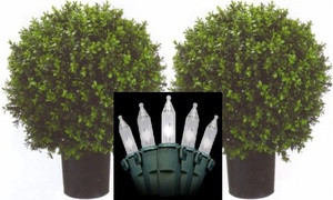 Two 2 foot Outdoor Artificial Boxwood Balls Potted UV Rated Potted Plants with Lights