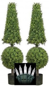"2 ARTIFICIAL 50"" BOXWOOD IN OUTDOOR TOPIARY TREE PLANT CONE AND BALL CHRISTMAS LIGHTS"