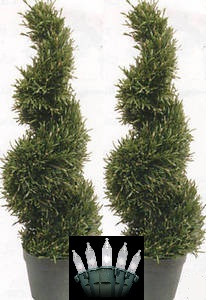 "2 ROSEMARY TOPIARY TREE WIDE ARTIFICIAL OUTDOOR 4'2"" SPIRAL WITH CHRISTMAS LIGHTS"