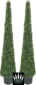 Two 6 foot Artificial Boxwood Outdoor UV Cone Tower Topiary Tree Christmas Lights