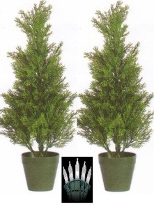 2 CEDAR 2' OUTDOOR TOPIARY TREE UV PLANT ARTIFICIAL CYPRESS WITH CHRISTMAS LIGHTS
