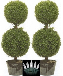 Artificial Boxwood Double Ball Topiary Trees 34 inch tall Two Plants with Christmas Lights