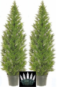 Two 5 foot Artificial Cedar Topiary Trees Potted with Lights