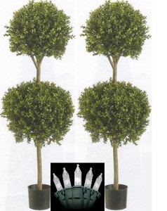"2 ARTIFICIAL 56"" BOXWOOD DOUBLE BALL OUTDOOR TOPIARY TREE PLANT POT CHRISTMAS LIGHTS"