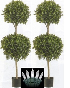 Outdoor Topiary Trees With Lights Lighted artificial topiary double ball topiary 2 artificial 56 boxwood double ball outdoor topiary tree plant pot christmas lights workwithnaturefo